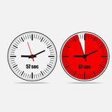 57 seconds timer icon on gray background. Fifty seven Seconds Clock on gray background. Two options.57 seconds timer. Stopwatch icon. Clock icon. Vector royalty free illustration