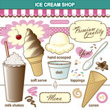 Secousse d'écrimages d'Art Ice Cream Shop Set de vecteur illustration libre de droits