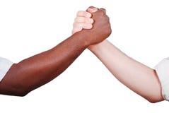 Secousse de deux mains, noire et blanche Images stock