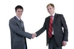 Secousse de main de deux hommes d'affaires Photographie stock libre de droits