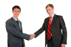Secousse de main de deux hommes des hommes d'affaires Photo stock