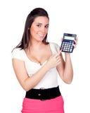Secrétaire attirant avec la calculatrice Photo stock