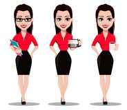 Secrétaire dans des vêtements de style de bureau illustration stock
