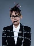 Secrétaire de femme d'affaires enchaîné Images stock