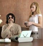 Secrétaire de rétro homme d'affaires de moustache Photo libre de droits