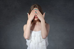 Secrecy, reluctance, indifference concept. Woman closed her eyes Royalty Free Stock Photo