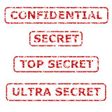 Secrecy Rubber Stamps. Four red levels of secret rubber stamps Stock Photo