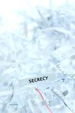 Secrecy written on shredded paper Stock Image