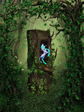 Secred Wood. A rainbow unicorn hiding in a tree stump, which is in secret fairytale forest! A cute fantasy scene Royalty Free Stock Photos