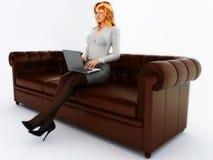 Secretária no sofá Imagens de Stock Royalty Free