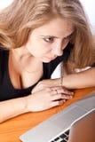 Secretária ou estudante com portátil Imagens de Stock Royalty Free