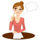 Secretário bonito Thinking ilustração stock