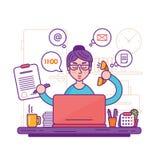Secretário da mulher ou ilustração fêmea do vetor do assistente pessoal ilustração do vetor