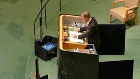 Secretário geral Ban Ki-moon do UN video estoque