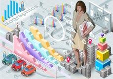 Secretário isométrico Set Elements da mulher de Infographic Imagem de Stock Royalty Free