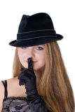 Secret. The girl in a black hat and gloves Stock Images