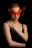 Secret. Mysterious lady in red mask Stock Photo