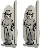 Secret agent. A cartoon secret agent investigating a very complex situation Royalty Free Stock Photo