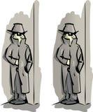 Secret agent. A cartoon secret agent investigating a very complex situation vector illustration