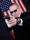 Secret Agent. Man dressed as An American Government Agent Royalty Free Stock Images