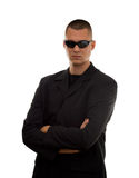 Secret agent. With glasses studio isolated Royalty Free Stock Images