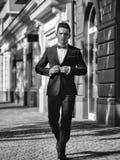 Secret agent. Man in suit ooutdoor stock photo