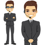 Secret Agent Bodyguard. Full body of secret agent bodyguard on two different pose isolated on white background royalty free illustration