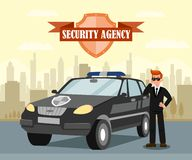 Secret Agent and Car Flat Vector Illustration. Security Officer with Headphones Cartoon Character. Security Agency Isolated Emblem with Lettering. Protection royalty free illustration