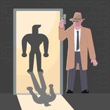 Secret agent character. Secret agent, spy, security guard or detective with a gun character in flat design. . Vector illustration eps 10 stock illustration
