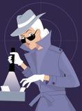 Secret agent. Female secret agent or private detective searching a file cabinet, EPS 8 vector illustration royalty free illustration