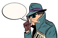 Secret agent finger gun gesture. Comic cartoon pop art retro vector illustration drawing stock illustration
