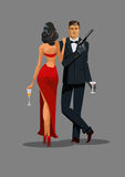 Secret Agent with gun and glass. Woman in red turned his back to Royalty Free Stock Image
