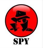 Secret agent, hacker, spy agent head on the red cycle button. Secret agent, hacker, spy agent head in black on the red cycle button stock illustration