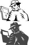 Stylized secret agent. Secret agent holding a secret file stock illustration