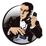 Secret agent on a mission. People in retro style. Stock illustration. People in retro style. Presentation template. Secret agent on a mission. Businessman with royalty free illustration