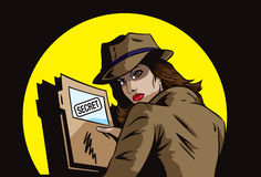 Secret agent with plans royalty free illustration