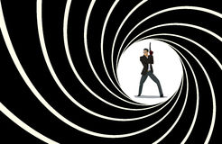 Secret agent. Posing on camera. Vector illustration Royalty Free Stock Image