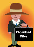 The secret agent. A secret service man holds top classified files Stock Photography