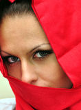 Secret arabian. Young girl with headscarf person discharging Royalty Free Stock Images
