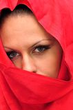 Secret arabian. Young girl with headscarf person discharging Royalty Free Stock Photography