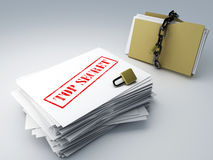 Secret archive and padlock folder Royalty Free Stock Image