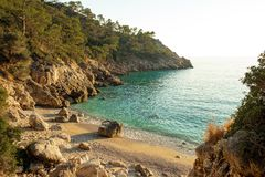 Secret beach bay in Turkey near Paradise bay stock photo