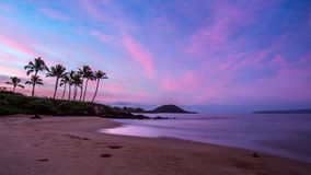 Secret Beach at Dawn. On the hawaiian island of maui. Palm trees and colourful sky with the silhouette of a volcanic cinder cone and gentle waves on the beach Royalty Free Stock Photos