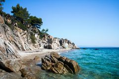 Fava beach on Greek peninsula Sithonia stock photography