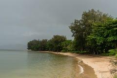 Secret Beach in north east Kauai, Hawaii, after a major rainstorm royalty free stock image