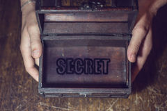 Secret box. Men's hands into the box, which shows a secret stock images