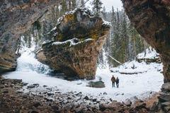 Johnston Canyon secret hidden cave, winter season, Travel Alberta, Banff National Park, Canadian Rockies, North America, Canada royalty free stock images