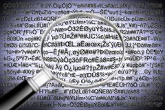 Secret code file concept with magnifying glass - the code is com. Pletely invented Stock Image