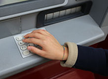 Secret code in the numeric keypad of the ATM Stock Photos