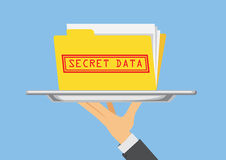 Secret data folder of business ready to send with silver dish. Royalty Free Stock Photo